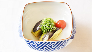 Kamo Nasu and Tomato using Kombu and Bonito Flaks Soup Stock