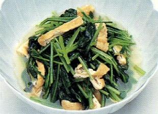 京壬生菜と油揚げの炊いたん