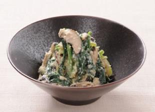 京壬生菜と焼きしいたけの白和え