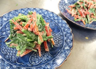 菊菜と金時にんじんのチーズ白和え
