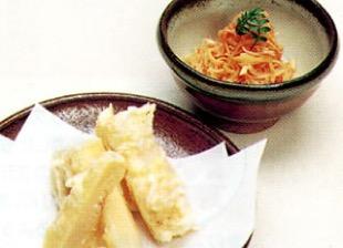 京たけのこの天ぷらとタラコ和え